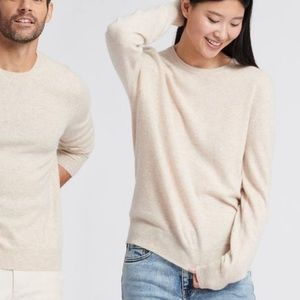 360 Cashmere Sweater Cream Crewneck Small